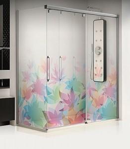 paroi de douche fleurie